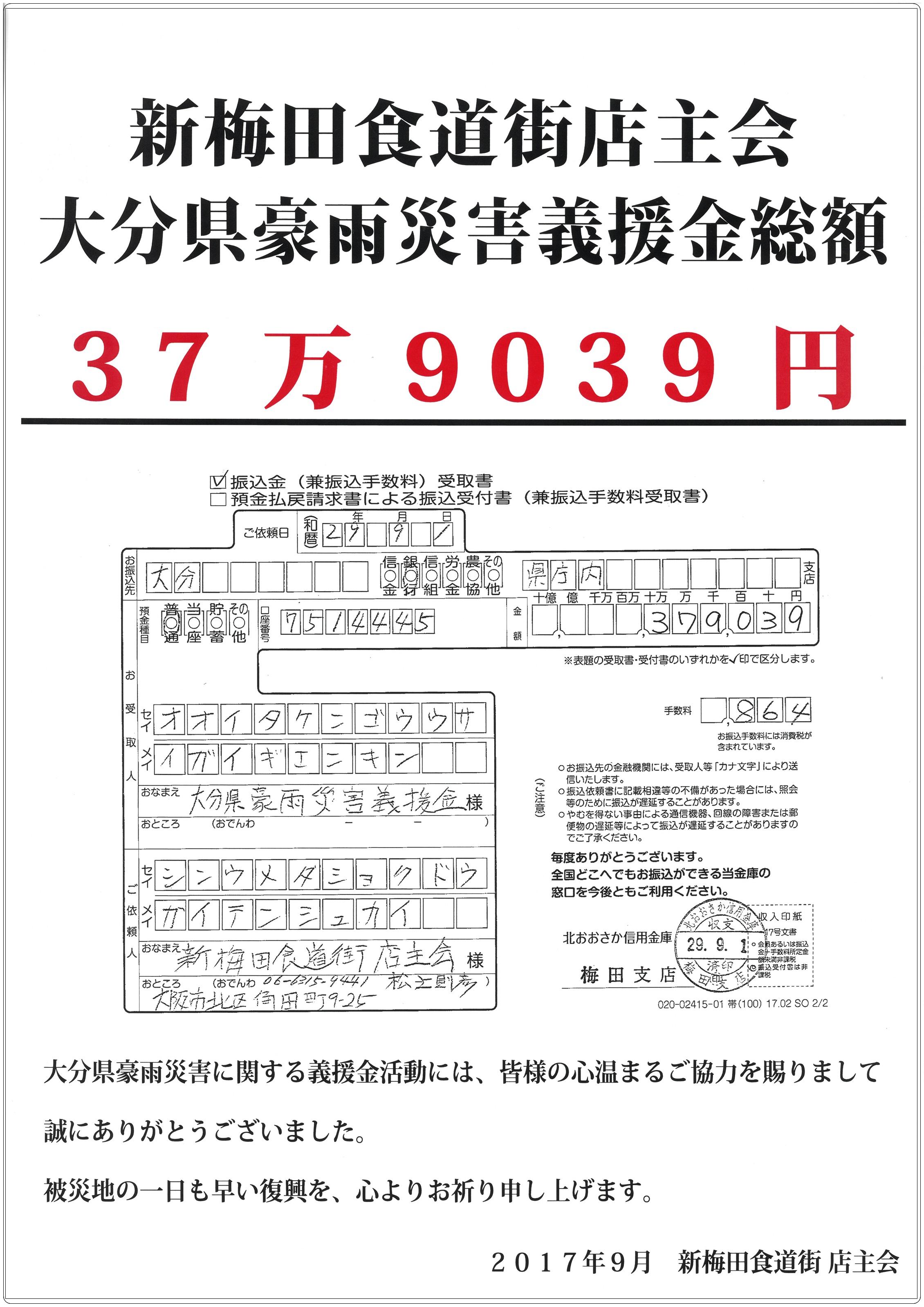 大分県豪雨災害義援金についてご報告